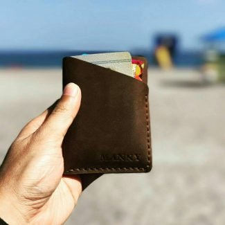 Pom Card Holder in Oily Pull-up Brown Leather and Brown Thread by @digitalmanny